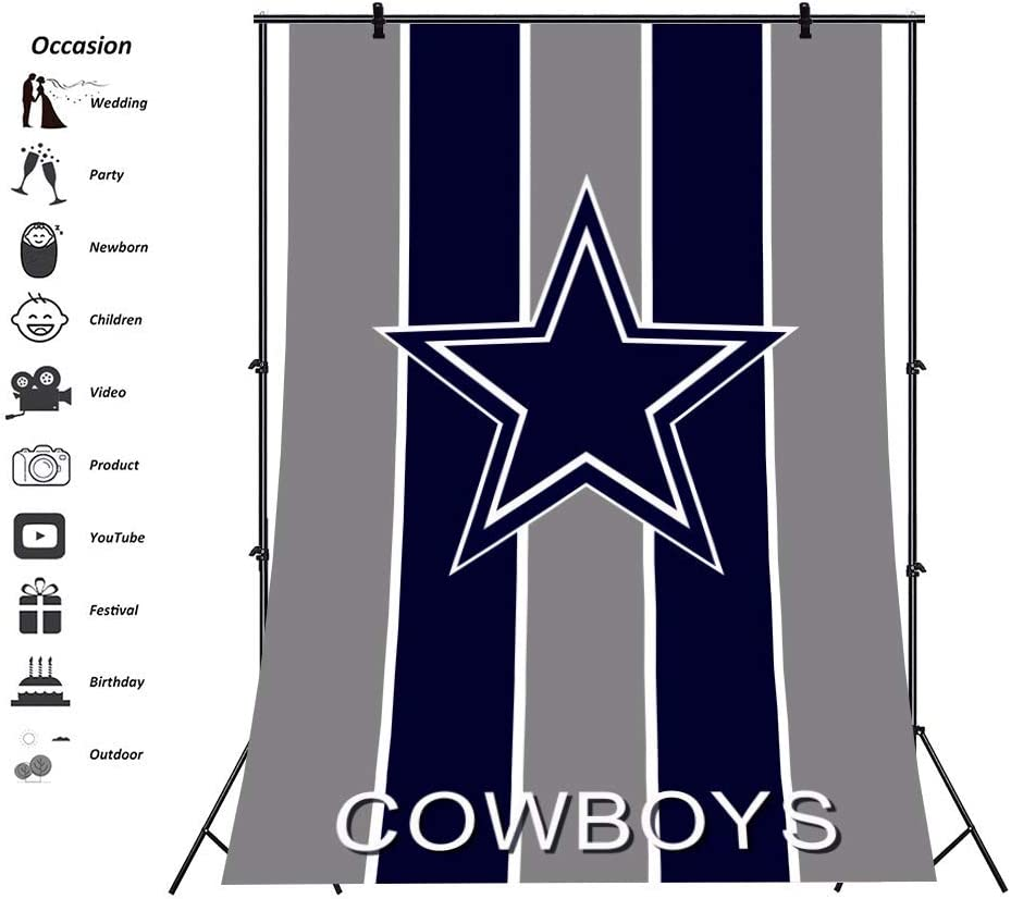 5x7ft Cowboys Little Man Boy Birthday Backdrop A Star on Gray Drak Blue Stripe Backgorund Baby Sower Gender Reveal Party Photo Booth Decoration Photography Studio Props