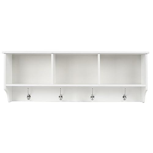 Bon HOMFA Wall Coat Rack Display Storage Unit Coat Hooks With Shelf 3  Components 4 Hooks White