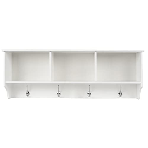 HOMFA Wall Coat Rack Display Storage Unit Coat Hooks With Shelf 3  Components 4 Hooks White