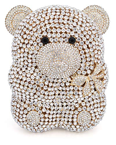 - Mossmon Luxury Crystal Clutch Bear Evening Bag (Gold), Large