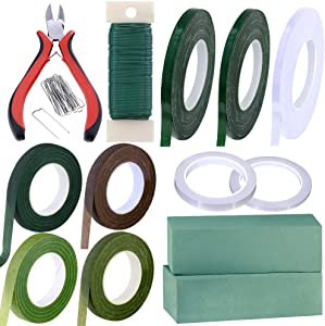Supla 33 Pack Floral Arrangement Kit Floral Foam Wet Green Brown Clear Floral Tape Waterproof Wire Cutter Stem Wire Floral Wire U Shaped Floral Pins for Bouquet Stem Wrap Florist