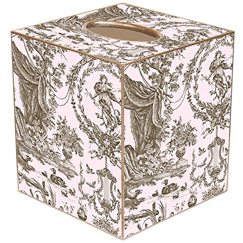 TB854 - Pink & Brown Toile Tissue Box Cover