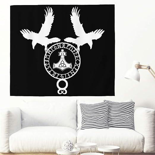 Tapiz de pared negro vikingo con cuervos nórdicos, martillo, runas ...