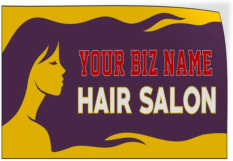 Custom Door Decals Vinyl Stickers Multiple Sizes Business Name Hair Salon Purple Yellow Business Hair Outdoor Luggage /& Bumper Stickers for Cars Purple 58X38Inches 1 Sticker