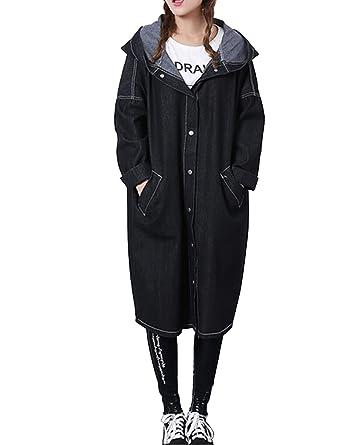 Sanifer Women Boyfriend Long Denim Jacket with Hoodie Oversized ...