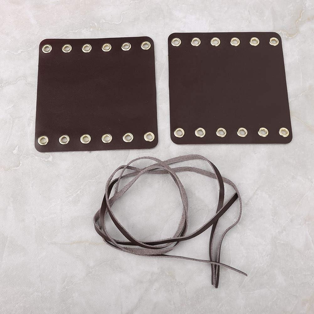 Qii lu 2PCS Coprimanopole in pelle per manubrio per moto Accessori per modifica moto Giallo