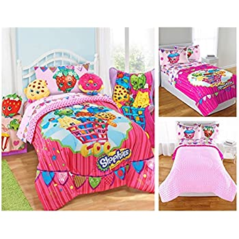 shopkins kids 5 piece bed in a bag full size bedding set reversible comforter. Black Bedroom Furniture Sets. Home Design Ideas