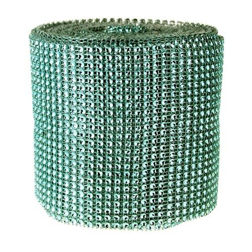 Homeford Firefly Imports Rhinestone Diamond Wrap Mesh Ribbon, 4-3/4-Inch, 10 Yards, Mint Green,