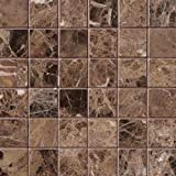 M S International Emperador Dark 12 In. X 12 In. X 10mm Polished Marble Mesh-Mounted Mosaic Tile, (10 sq. ft., 10 pieces per case)