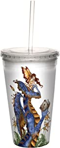 Tree-Free Greetings Fantasy Book Club Reading Dragon and Fairy Double Walled Cool Cup with Reusable Straw by Amy Brown, 16-Ounce
