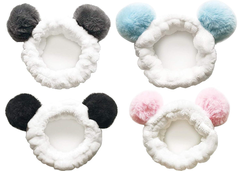 CRIZAN 4 Pack Cute Plush Panda Bear Ear Hair Band for Washing Face, Beauty Spa Facial Headband, Makeup Running Sport Headband for Women's Hair, Hair Wraps Headbands Spa Non Slip