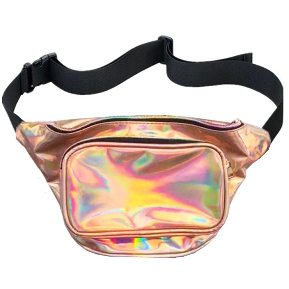 MSFS Women Hologram Bum Waist Bag Laser Fanny Bag Waterproof Shiny Neon Pack for Travel Festival Beach (Golden)