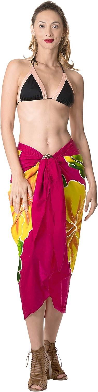 LA LEELA Maillots de Bain Femme Rayonne Sarong Jupe par/éo Batik Couvrir 78x42 Pouces Brun