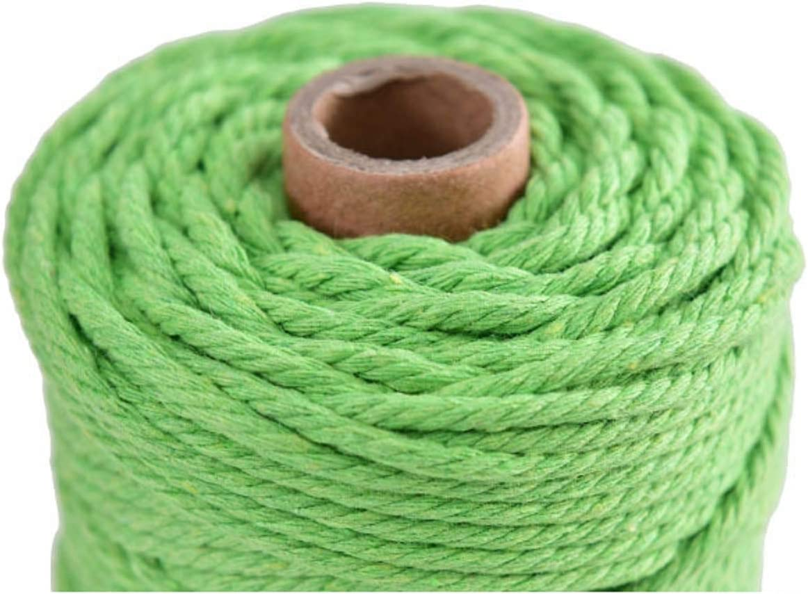 3 mm 328 Feet 3 Ply Natural Cotton Macrame Rope Cord Twisted Cord Macrame Supplies 3mm for Macrame Wall Hanging Plant Hanger Craft Making Knitting Green