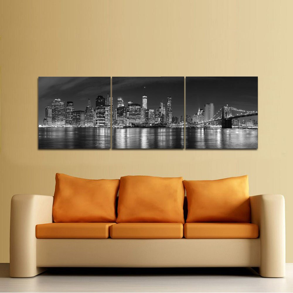 Amazon.com: Pyradecor New York City Skyline Night Modern 3 panel ...