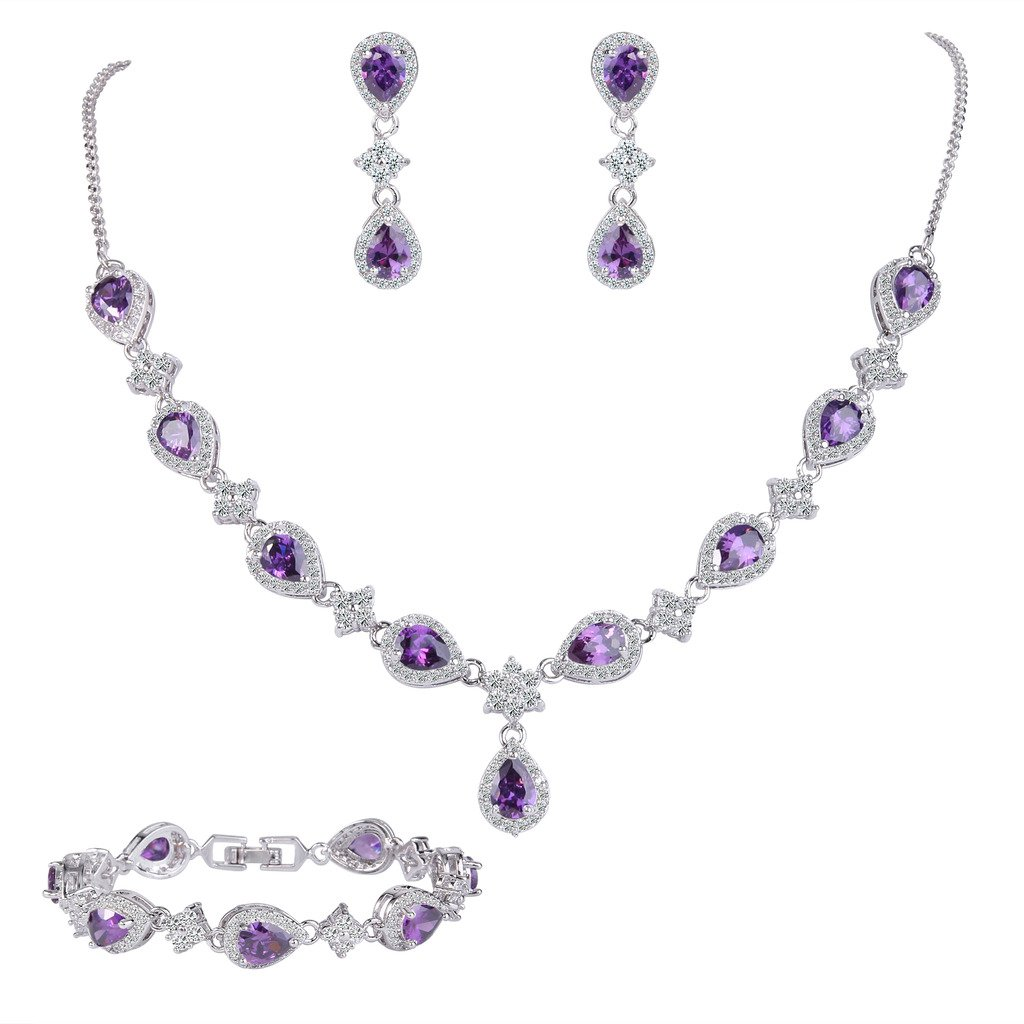 EleQueen Women's Silver-tone Cubic Zirconia Teardrop Flower Bridal V-Necklace Set Tennis Bracelet Dangle Earrings Amethyst Color