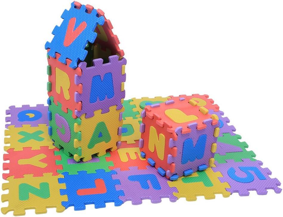 lyrlody Tappeto Puzzle Eva 12 x 12cm 72 Pezzi Tappetino Gioco per la Cameretta Morbido Tappetino Gioco Neonati con Numeri e Lettere pu/ò Essere Impiombato in Giocattoli