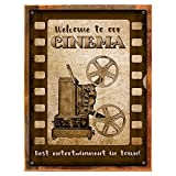 Framed, Outdoor Welcome to Our Cinema 18''x24'' Metal Sign, Movie Room, Family Room, Media Room, Hand-Crafted from reclaimed materials