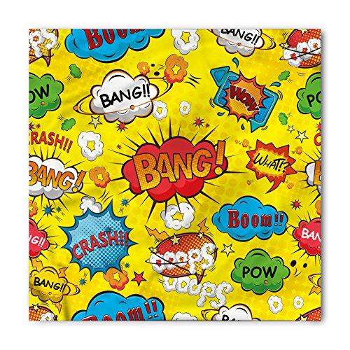 Lunarable Unisex Bandana, Superhero Funky Oops Wow Phrases, Yellow -