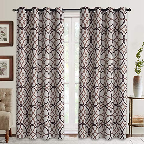 Brown Geometric Pattern - Curtains for Living Room, Geometric Pattern Room Darkening Blackout Curtains for Bedroom Thermal Insulated Drapes (Taupe and Brown-52 by 84 Inch, 2 Panels)