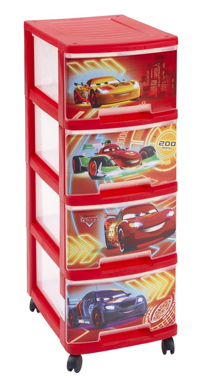 Curver 217780 Torre 4 del cajón A4 Tamaño 10 L Ruedas Decoración Red Cars Polipropileno 26, 4 x 35, 1 x 67, 5 cm 00066-C35-01