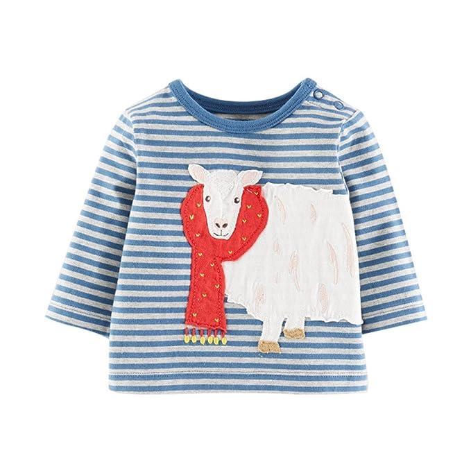 Logobeing Bebé Niña de Dibujos Animados de Oveja Rayas de Manga Larga Blusa Tops Camiseta Traje