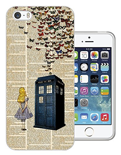 477 - Vintage News Alice In Wonderland Doctor Who Tardis Call Box Butterflies Design iphone 5 5S Fashion Trend Silikon Hülle Schutzhülle Schutzcase Gel Rubber Silicone Hülle