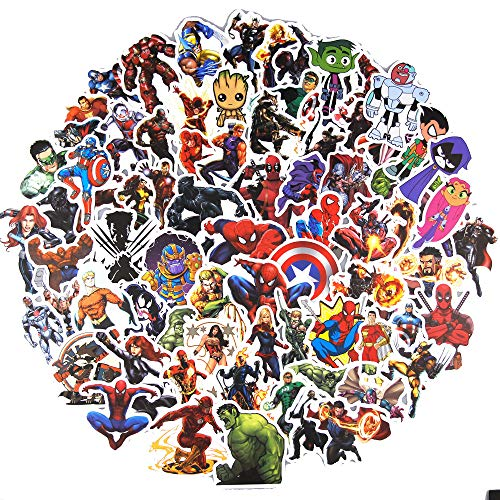 shuyilong Superhero Stickers Packs for Kids(100pcs) Marvel Avengers Decals for Water Bottles MacBook Car Helmet Bike Motorcycle Bumper Skateboards Luggage Snowboard,Graffiti Patches for Party Favors -