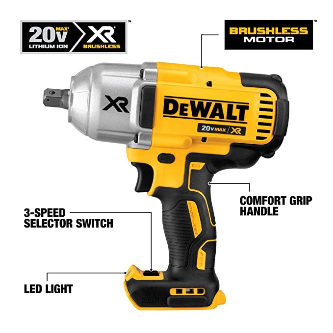 DEWALT 20V MAX XR Impact Wrench Kit, Brushless, High Torque, Detent Anvil,  1/2-Inch (DCF899P1)
