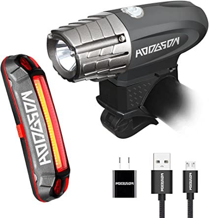 Black Lumens LED Front and Rear Flashlight Easy to Install Quick Release HODGSON USB Rechargeable Bike Light Set 10 Modes Super Bright 370