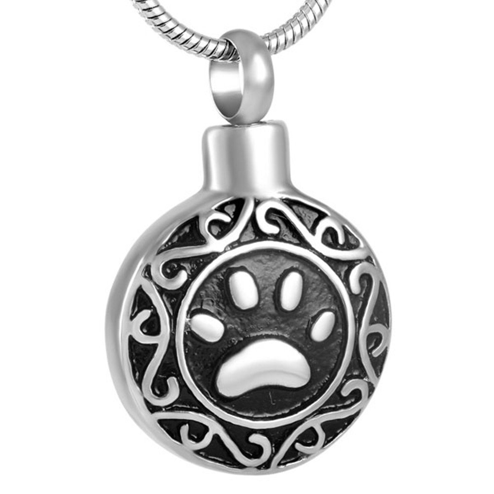 SS8584 Paw Round Cremation Urn Necklace Dog/Cat Ashes Keepsake Necklace Pet Ash Urn Jewelry