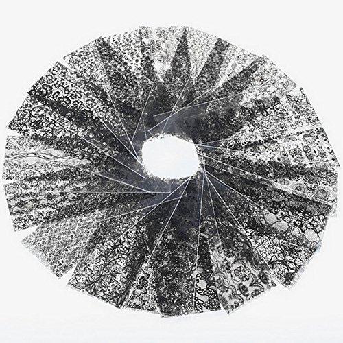 20pcs Black Lace Hallow Out Nail Art Transfer Foils Manicure Wraps Stickers (Black) - 1