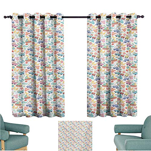 DONEECKL Warm Curtain Kids Colorful Cartoon Pattern with Baby Elements Clothes Toys and Sweet Childhood Theme Noise Reducing Curtain W55 xL39 Multicolor