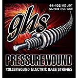 "Electric Bass Strings. Made by GHS.Magnetically active ""Alloy 52"" slightly flattened in the winding process to provide a bright, great feeling string with less finger noise, Standard Long Scale (Fits 34"" Scale).Medium Light Gauge: 1-G - PWB44 2-D - P..."
