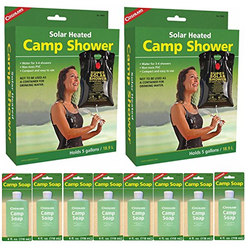 Price comparison product image Coghlan's Solar-Heated Camp Shower (9965), 2-Pack, with 8x Camping Soap Bottles