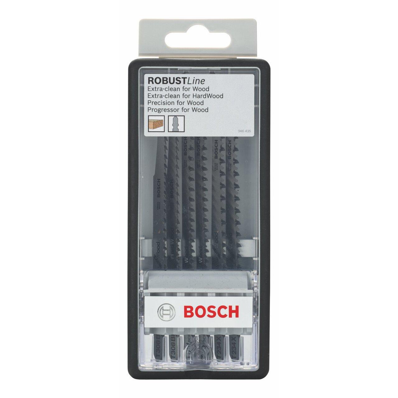 Bosch Robust Line 2607010572 Coffret de lames pour scie sauteuse 6 pi/Ã/¨ces Bois Tige en T