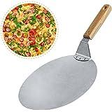 Pizzaschaufel, Ashleyoo Pizzaschieber für Pizzaofen mit langem Griff Pizzaheber auch geeignet als Brotschieber und Ofenschaufel Pizzawender mit abgerundeten Kanten, Metall und Holz