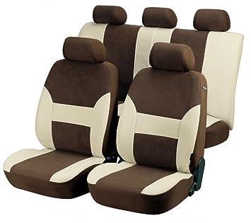 Fundas para asientos de coche, set completo, Fiat Panda, color marrón y beige