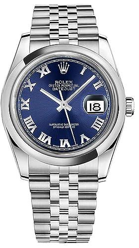 Rolex Datejust 36 116200 azul números romanos Dial Jubileo de los hombres reloj: Amazon.es: Relojes