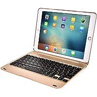 LoMe Funda con Teclado para Tableta Teclado Bluetooth Soporte de Teclado inalámbrico extraíble para iPad Air, iPad 2, ipadpro9.7,Gold