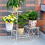 LIZX Iron flower racks | flower pot rack | European style living room balcony interior | multi-purpose flower rack ( Color : White , Size : M )