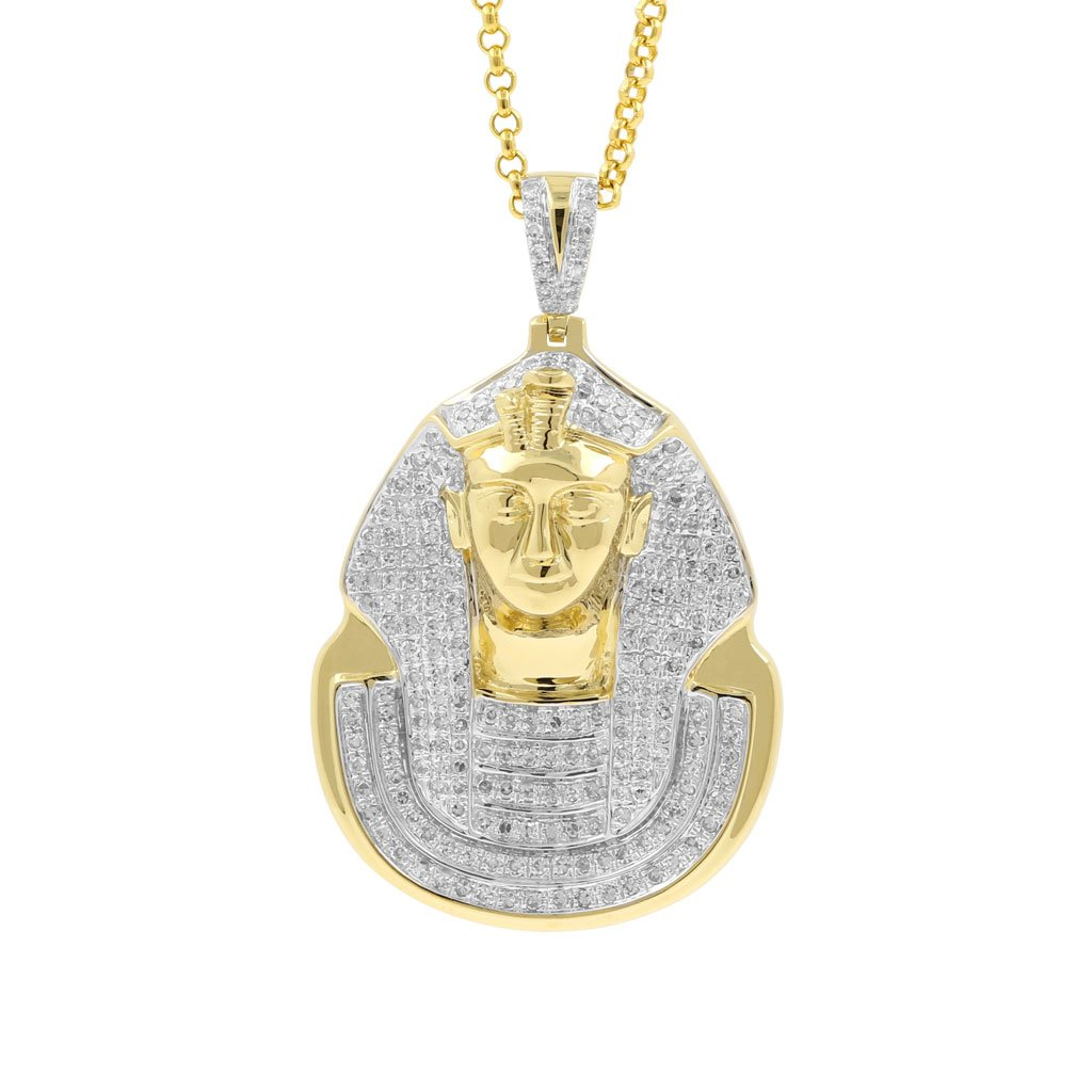 1 Carat Diamond Pharaoh Head Religious Mens Hip Hop Pendant in Yellow Gold Over 925 Silver (I-J, I1-I2) by Isha Luxe-Hip Hop Bling (Image #1)