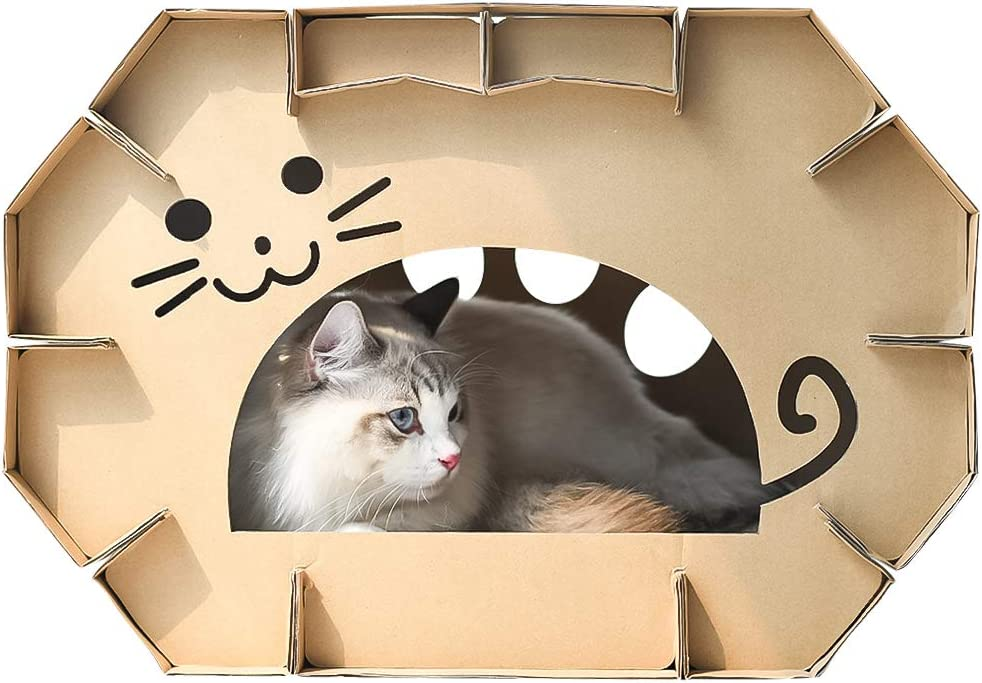 Dr.NONO Cat House Scratcher Post Cardboard Condo Cave with Catnip,Pet House Apartment,Made of Recyclable Cardboard Material