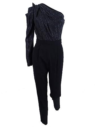 46e55cf522c Amazon.com  Michael Michael Kors Womens Metallic One-Shoulder Jumpsuit Black  4  Clothing