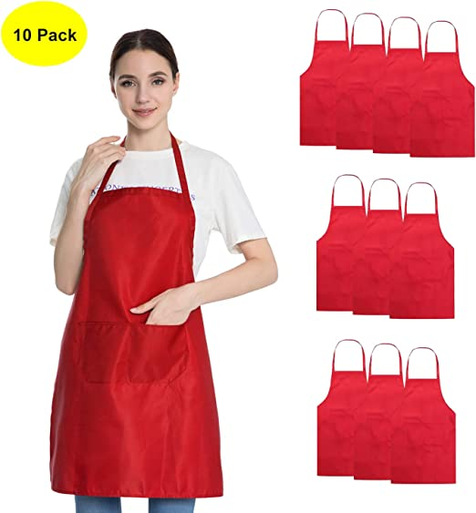 2 Water-resistant Funny Kitchen Bib Aprons Dress for Men Women BBQ Party Gift