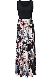 36e4c109558 Zattcas Womens Summer Contrast Sleeveless Tank Top Floral Print Maxi Dress