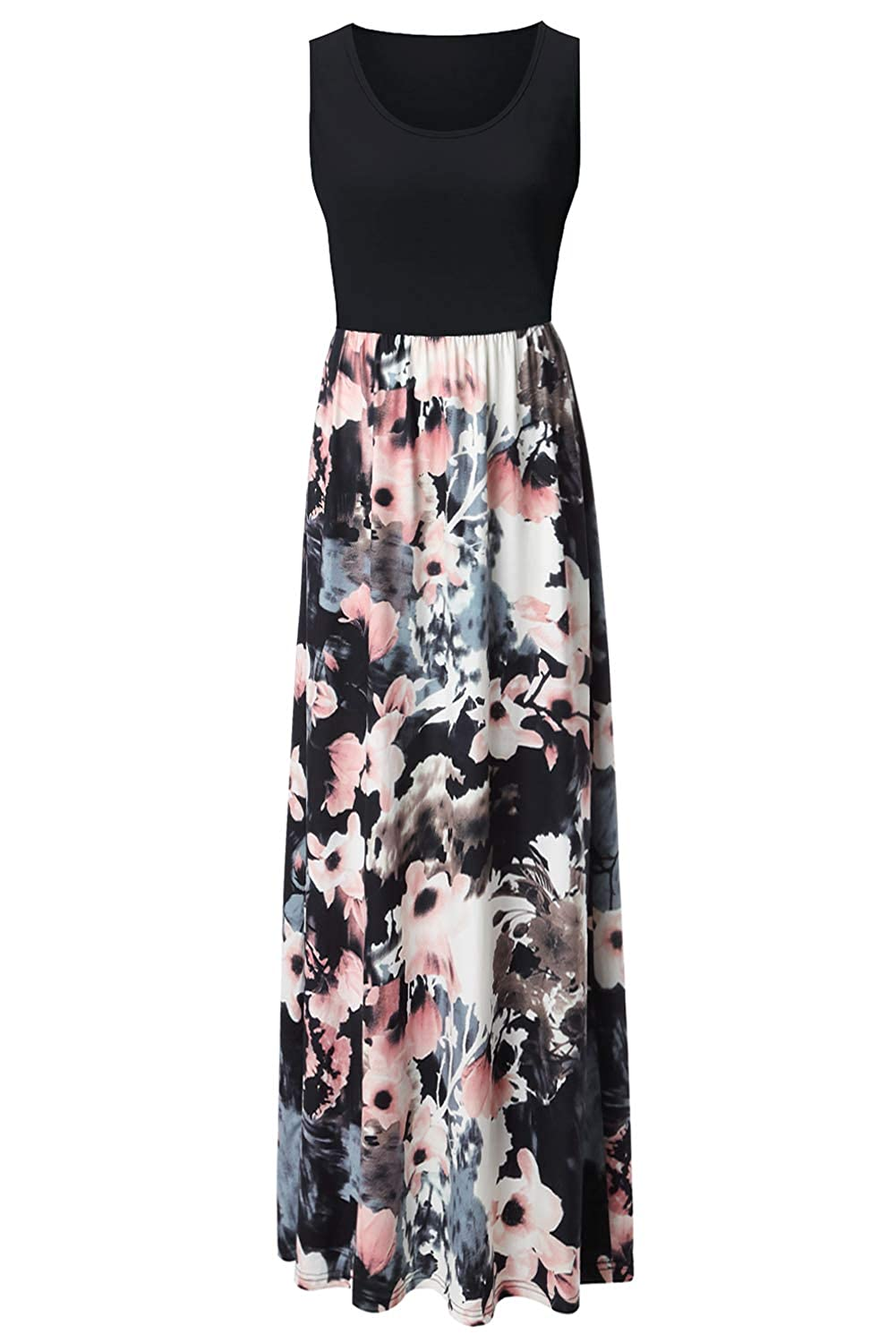 aa3e99add3 Zattcas Womens Summer Contrast Sleeveless Tank Top Floral Print Maxi Dress  at Amazon Women s Clothing store