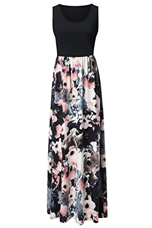 f04101594c7 Zattcas Womens Summer Contrast Sleeveless Tank Top Floral Print Maxi Dress  Black