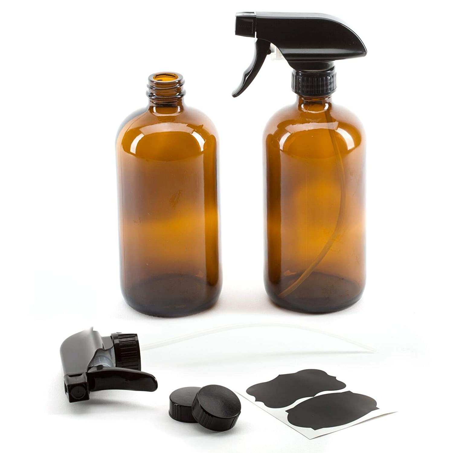 a44c05c730cc 16oz Empty Amber Glass Spray Bottles with Poly Cone Caps & Labels (2 Pack)  - Refillable Container for Essential Oils, Cleaning Products, or ...