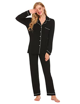 607c8f77c luxilooks Womens Pajamas Sets Soft Pj Lounge Sets Long Sleeve Sleepwear  Button Down Nightwear(Black